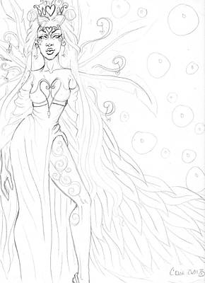 Queen Of Hearts Sketch Art Print by Coriander  Shea