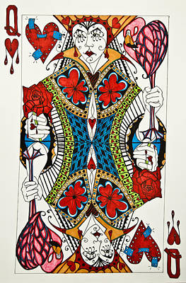 Drawing - Queen Of Hearts - Wip by Jani Freimann