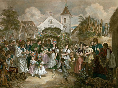 Queen Of Pentecost, Hungary, 19th Century, Village Party Art Print by Hungarian School