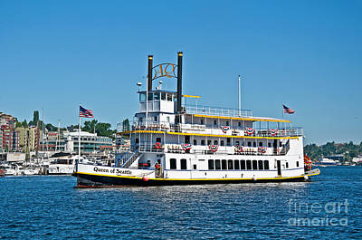 Photograph - Queen Of Seattle Vintage Paddle Boat Art Prints by Valerie Garner