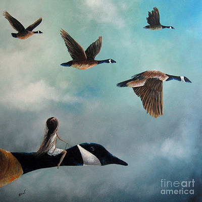 Big Skies Painting - Queen Of The Canada Geese By Shawna Erback by Shawna Erback
