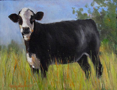 Cow Face Painting - Queen Of The Hill by Cheri Wollenberg