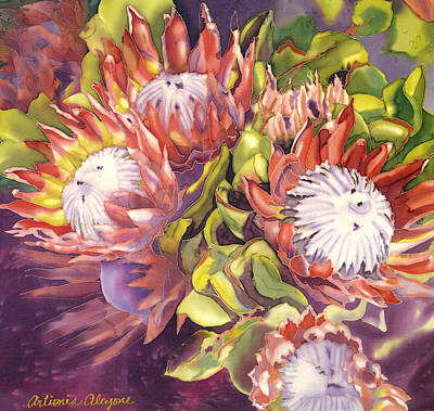 Painting - Queen Protea by Artimis Alcyone