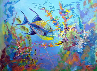 Triggerfish Painting - Queen Trigger by David Francke