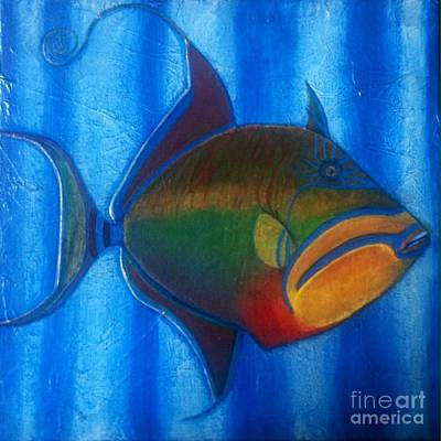 Triggerfish Painting - Queen Triggerfish  1 by Chad Gill
