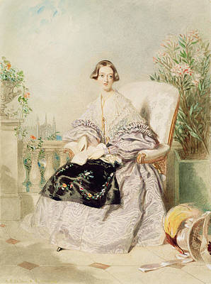 Victoria Painting - Queen Victoria, 1838  by Alfred-Edward Chalon