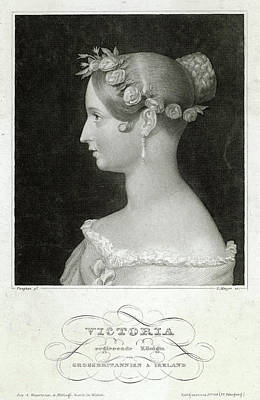 1819-1901 Drawing - Queen Victoria  An Early Portrait by Mary Evans Picture Library