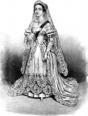 1819-1901 Drawing - Queen Victoria In The Bridal Dress by Mary Evans Picture Library