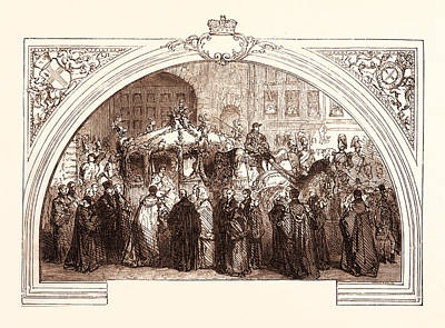 European City Drawing - Queen Victoria Visiting The City Of London On November 9 by English School