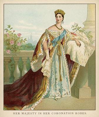 1819-1901 Drawing - Queen Victoria Wearing Her Coronation by Mary Evans Picture Library
