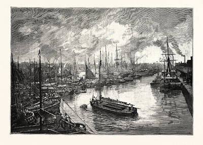 Queens Dock, Hull. The Port Of Hull Is A Trading Port Art Print by English School