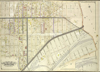 Long Island Drawing - Queens, Vol. 2, Double Page No. 6 Part Of Long Island City by Litz Collection
