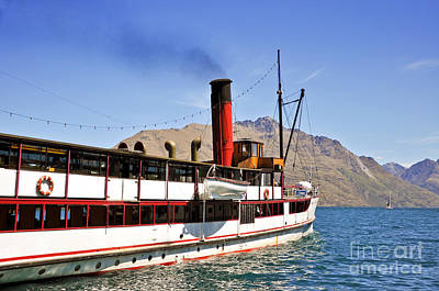Queenstown Steamboat Art Print by Delphimages Photo Creations