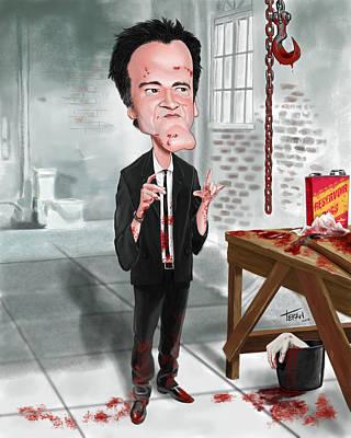 Reservoir Dogs Digital Art - Quentin Tarantino Caricature by Patrick Teran