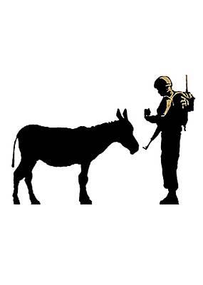 Questioning A Donkey Art Print by Munir Alawi