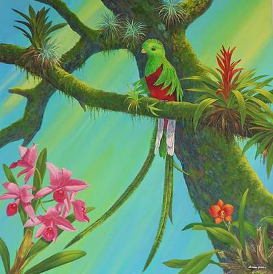 Bromeliad Painting - Quetzal by Bonnie Golden