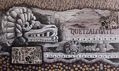Pyramid Of The Sun Mixed Media - Quetzalcoatl by Candy Mayer