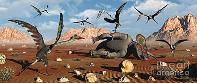 Pterodactyls Digital Art - Quetzalcoatlus Scavage At The Remains by Mark Stevenson