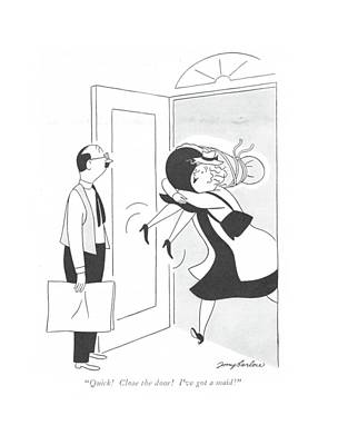 Tied-up Drawing - Quick! Close The Door! I've Got A Maid! by M. K. Barlow
