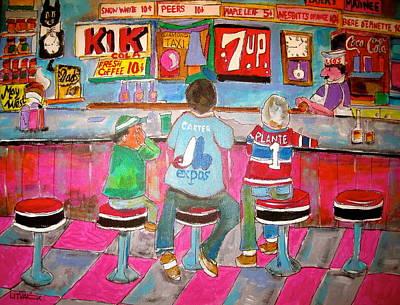 Checkerboard Floor Painting - Quick Deli 2 by Michael Litvack