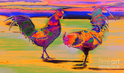 Photograph - Quickstop Roosters  by Expressionistart studio Priscilla Batzell