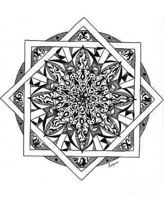 Drawing - Quiddity Mandala by Arizona  Lowe