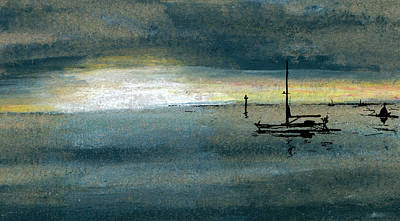 Blue Bouys Painting - Quiet Bay Sunrise by R Kyllo