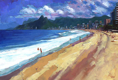 Acrylic Seascape Painting - Quiet Day At Ipanema Beach by Douglas Simonson