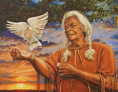 Apache Painting - Quiet Dove by James Loveless
