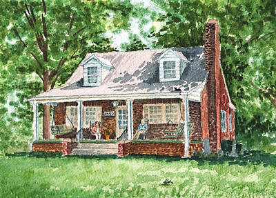 Brick Buildings Painting - Quiet East Coast Summer Day Honey Look There Is A Rabbit by Irina Sztukowski