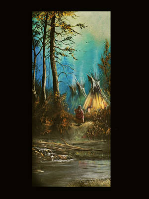 Quiet Forest With Tepees Blank Art Print