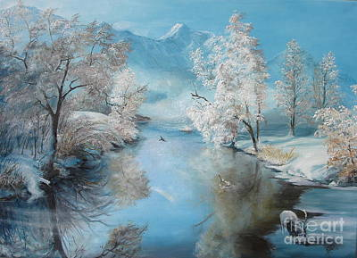 Art Print featuring the painting Quiet Ice  by Sorin Apostolescu