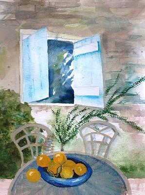 Quiet Morning On The Patio Art Print