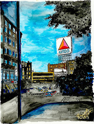 Fenway Park Boston Painting - Quiet Night Outside Of Fenway by Rob Monte