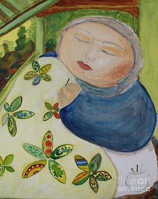 Quiet Quilter Art Print by Teresa Hutto