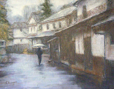 Painting - Quiet Rain - Japan by Chisho Maas