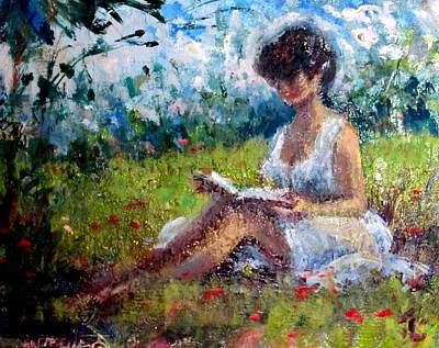 Painting - Quiet Read by Philip Corley