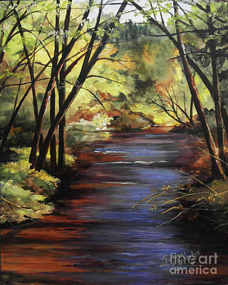 Babbling Brook Painting - Quiet Retreat by Suzanne Schaefer