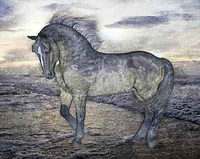 Bay Thoroughbred Mixed Media - Quiet Steps by Betsy Knapp