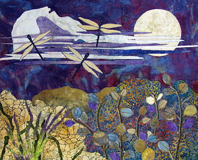 Art Quilts Tapestries - Textiles Tapestry - Textile - Quiet Summer Evening by Lynda K Boardman