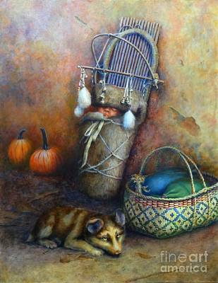 Cradle Board Painting - Quiet Time by Ainsley McNeely