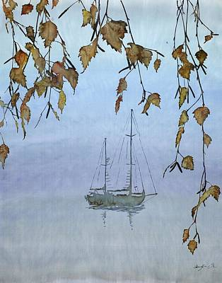 Autumn Leaf On Water Tapestry - Textile - Quiet Water by Carolyn Doe