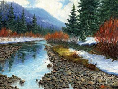 Winter Scenes Painting - Montana Waters by Asa Gochenour