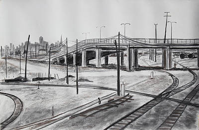 Telephone Wires Drawing - Quiet West Oakland Train Tracks With Overpass And San Francisco  by Asha Carolyn Young