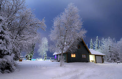 Snowy Night Photograph - Quiet Winter Times by Ron Day