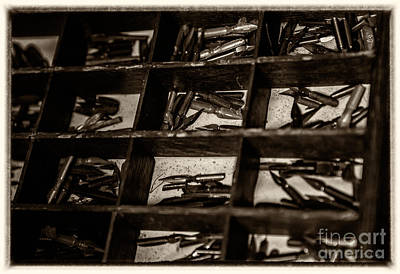 Caligraphy Photograph - Quill Nips Metal In Sepia Tone by Iris Richardson