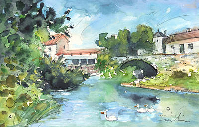 Waterscape Drawing - Quillan 01 by Miki De Goodaboom