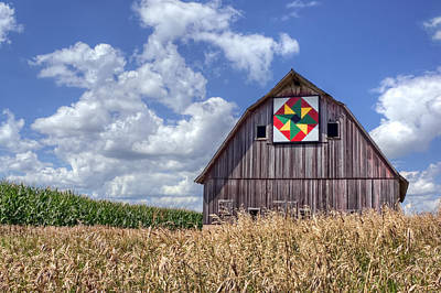 Quilt Barn - Double Windmill Art Print