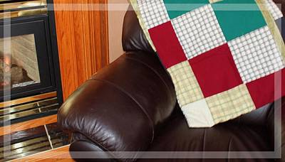 Quilts For Sale Photograph - Quilt Beside A Fireplace by Barbara Griffin