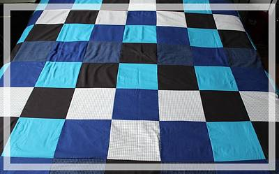 Quilt Blue Blocks Original by Barbara Griffin
